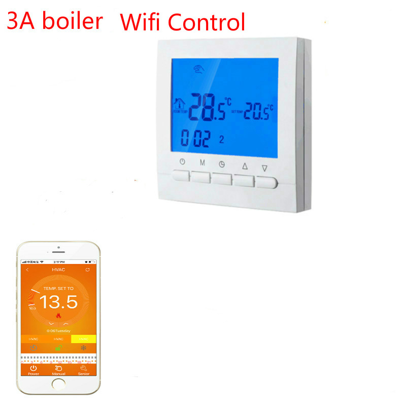 Gas Boiler Heating Wifi & Hand Control Thermostat Program Energy Save Boiler Temperature Regulator 3A 220V valve radiator linkage controller weekly programmable room thermostat wifi app for gas boiler underfloor heating