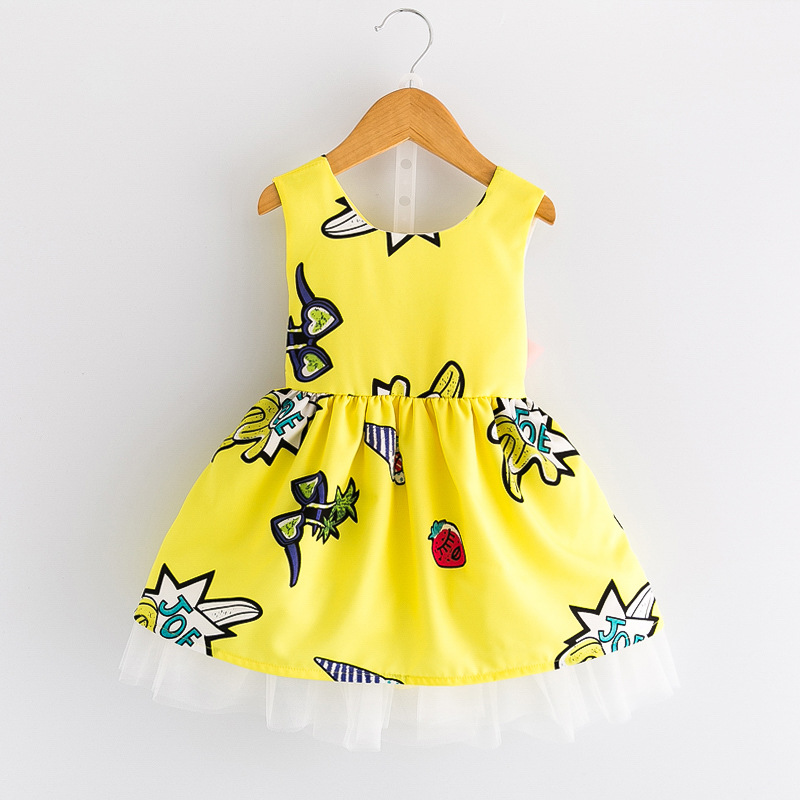 2018 Summer Girls Fashion Slim O Neck Sleeveless Printing Cute Dress Kids Baby Wholesale Brand Hot Bow Dress Children Clothing new brand 2017 girls long dress summer fashion beach printing mid calf children casual o neck sleeveless clothes 6 15y kids hot