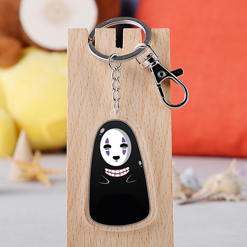Hayao Miyazaki Anime Spirited Away Totoro No Face Man Cartoon Figure Car Key Chains Holder Friend Graduation Christmas Day Gift