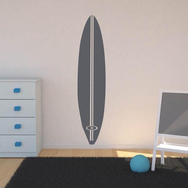 6fb5013c5 Prancha de Surf praia Adesivos de Parede Sala Decalques de Parede de Vinil  Lettering Personalizado Inicial