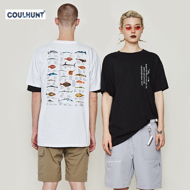 Fashion English Alphabet Printed Couples Tees 2019 New Deep Sea Fish Men's Summer Short-Sleeved Skateboard  Casual T Shirt S-XL