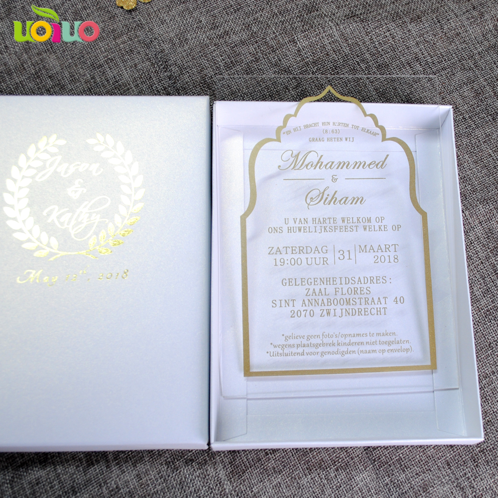 Us 39 0 Customized 5x7inch Gold Printing Text Design Clear Acrylic Wedding Invitation Card Customized Acrylic Invitations In Cards Invitations