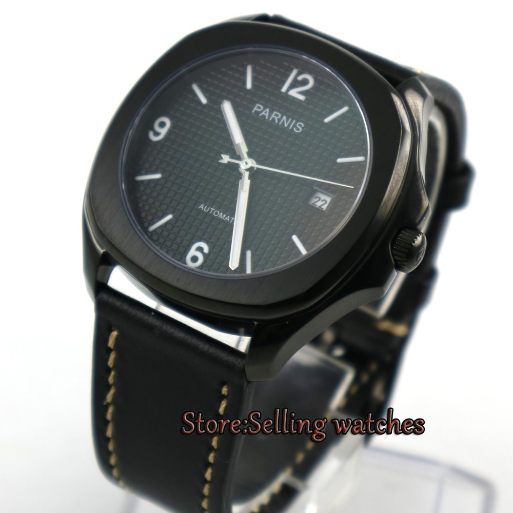 Parnis 40mm PVD square case black dial luminous rubber strap 21 jewels MIYOTA Automatic movement Men's watch men japan miyota 40mm pvd case parnis men s watch