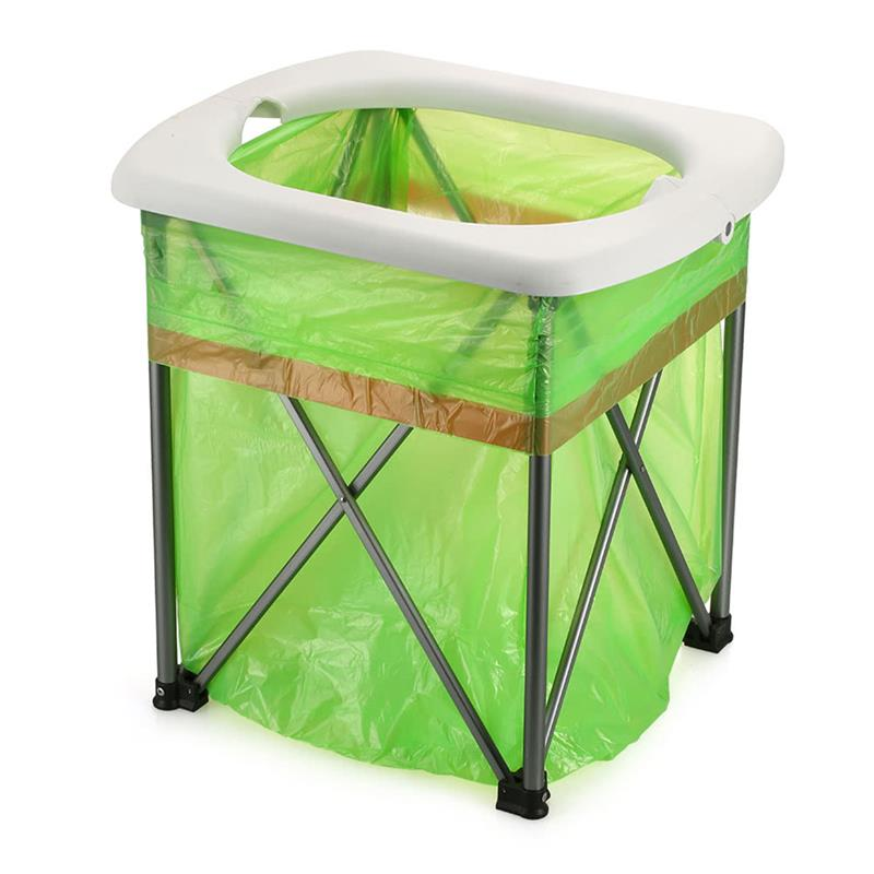 RUNACC Outdoor Folding Toilet Portable Camp Toilets Lightweight Travel Potty with 15 Disposable Plastic Bags