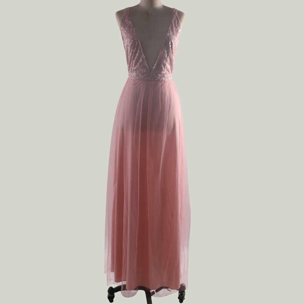 Kadınlar seksi şifon pullu katı camiş geri Hollow uzun parti zarif elbisesi elbise