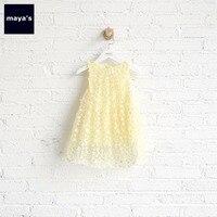 Mayas Yellow Floral Tulle Girls Mini Dress Children Spring Sleeveless Tutu Dresses Toddler Pull On Sweet Kids Dresses 75123