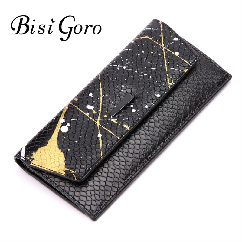 Bisi Goro Cowhide Leather 2018 Women Wallet Serpentine Long thin Purse Cowhide multiple Cards Holder Vintage Clutch zipper bag bisi goro new 2017 women wallets cowhide leather long clutch wallet female high capacity coin purse card id holders candy color href