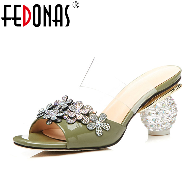 b15684e71b502 FEDONAS Women Sandals Summer 2018 Crystal High Heels Shoes Woman Ladies  Genuine Leather Rhinestone Wedding Party Shoes Sandals-in High Heels from  Shoes on ...