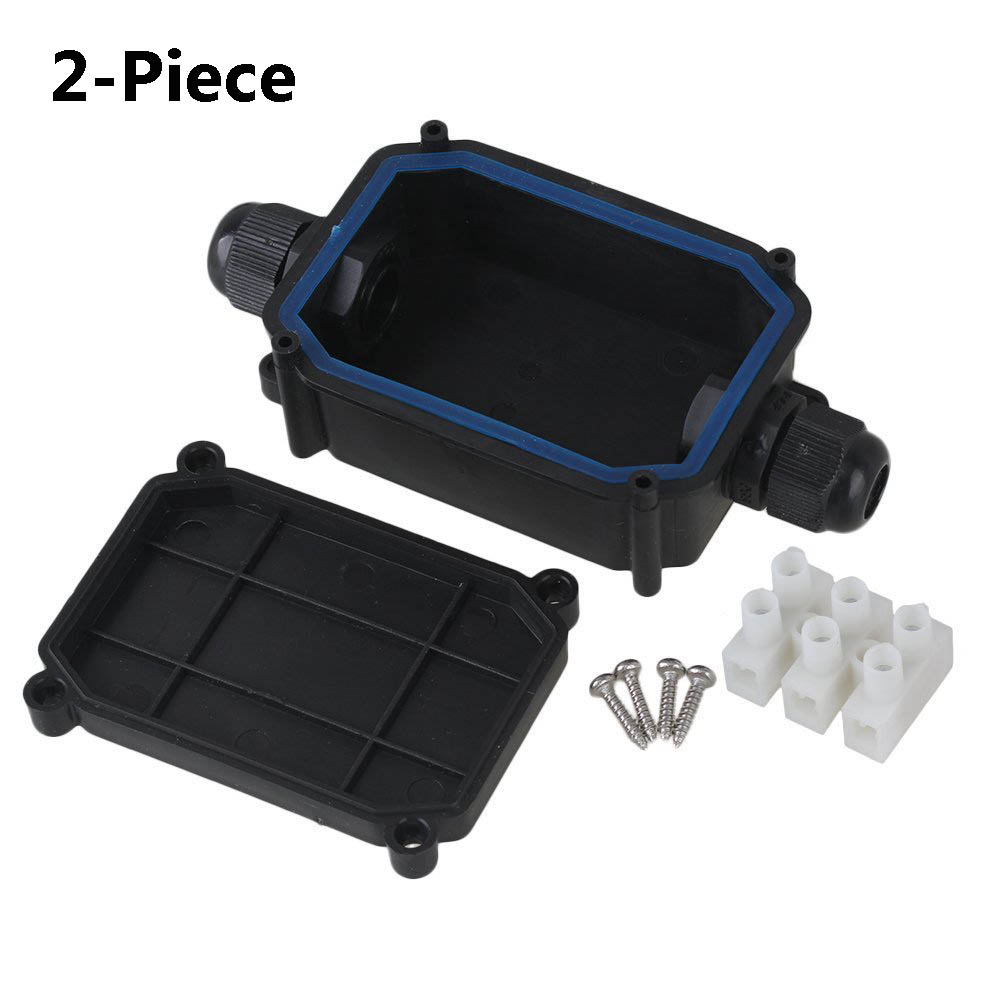 2-Piece Waterproof Black IP66 Plastic Cable Wire Connector Gland Electrical 2-Cable Junction Box With T06-3 Terminal