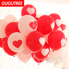 Decorate 100pcs 12inch red white love heart latex ballon wedding event christmas halloween festival birthday party HY-385