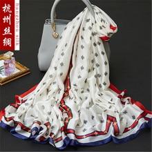 180×90 см Птица цветок шелк с принтом шифон Ткань натуральный шелк ткань Материал шить Для женщин платок HG36