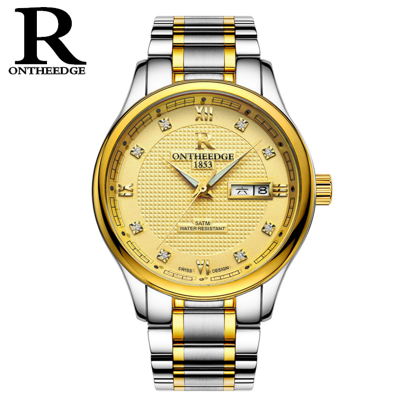 RONTHEEDGE Luxury Top Watch Men Fashion Automatic Date Wristwatch Full Steel Business Luminous Analog Clock relogio masculino 2017 new full steel automatic watch binger casual fashion wristwatch with gold calendar man business hours clock relogio reloj