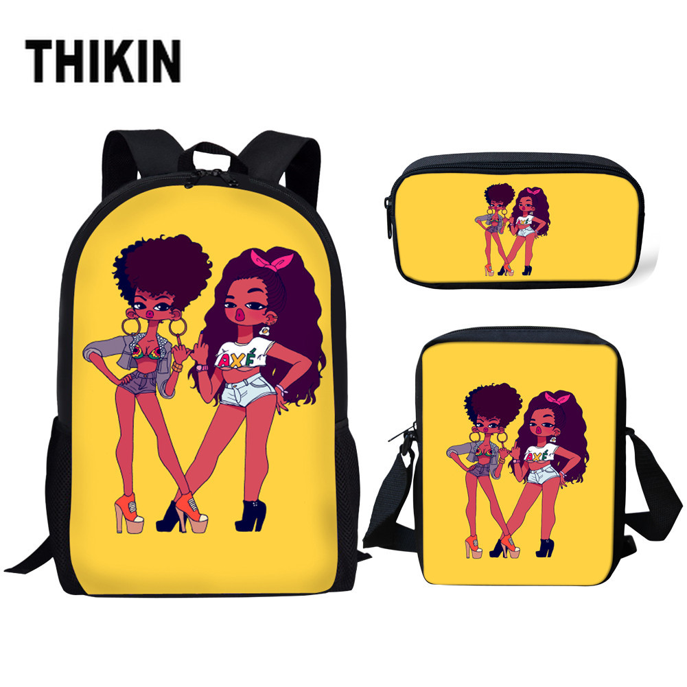 THIKIN Afro Black Girl Magic Melanin Poppin Children Shoulder Book Bags School Bags for Kids 3pcs set Primary School Bag Custom in School Bags from Luggage Bags
