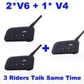 Fodsports Brand 3 Riders V4+2*V6/set 1200m BT Headset Free Talking Wireless Motorcycle Intercom Working Like 3 V4 Helmet Headset