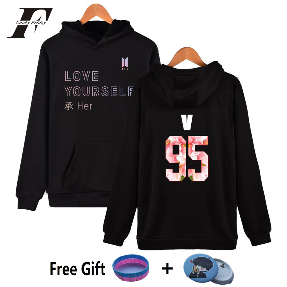 LUCKYFRIDAYF 2017 NEW BTS LOVE YOURSELF Kpop Hooded Harajuku Hoodies Women Bangtan Sweatshirts Women Fashion Kpop