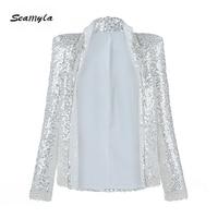 Seamyla 2019 New Elegant Sequined Coats Long Sleeve Beading Celebrity Party Blazers Women White Runway Coat Winter Club Outwears