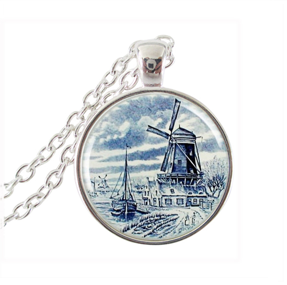 Windmill pendant necklace si;ver chain choker glass cabochon pendant charm Holland travel dutch delft ship picture jewelry gifts