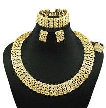 Joyería india plateó la joyería de dubai collar forme a mujeres fine jewelry sets 24 k oro sistemas de la joyería