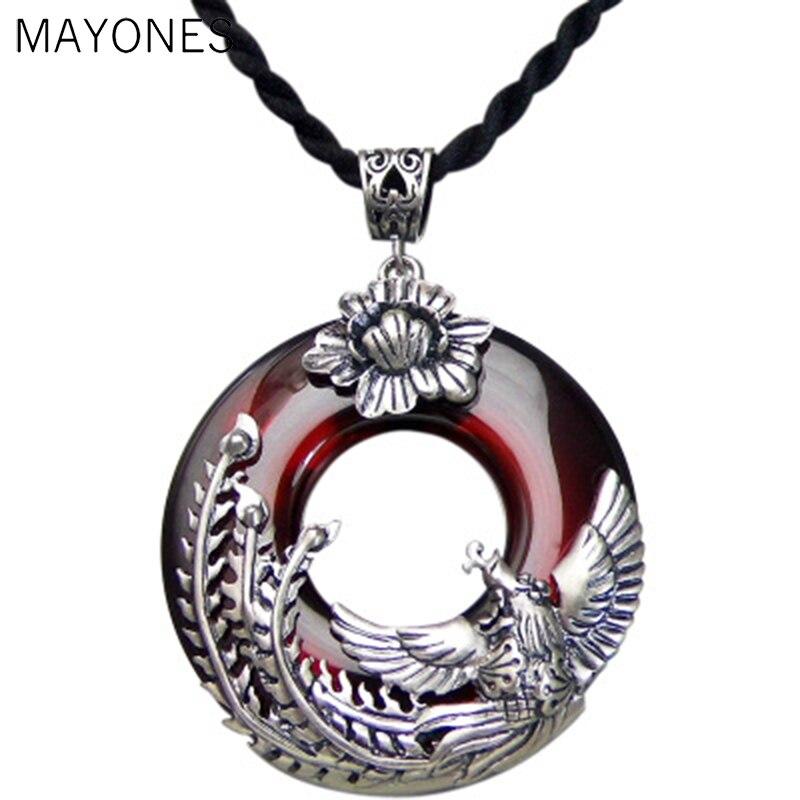 Véritable pendentif en argent 925 Phoenix rond rouge Zircon pierre S925 Original Thai argent pendentifs pour femmes fabrication de bijoux