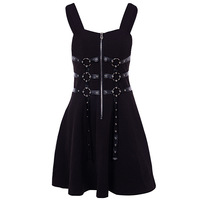 Darkness Gothic Style Women Black A line Dress Harajuku Punk Suspender with Shoulder Straps Zipper for Sexy Cool Girl