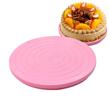 Plastic Cake Stand Decor Turntable Manually Rotating Round Shaped Mounting Pattern Tool  MDD88