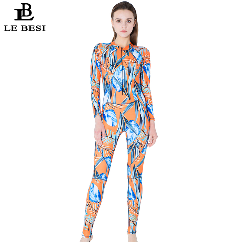 LEBESI 2018 Womens Professional One Piece Swimsuit Sports Surfing Swimwear Long Sleeve Pants Beachwear Plus Size Bathingsuit