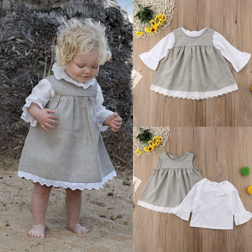 2 PCS Autumn Baby Girl Dress Boutique Long Sleeve Cotton Ruffle Solid Baby Dress Casual Baby Girl Clothes Two-Piece Outfit 0-24M