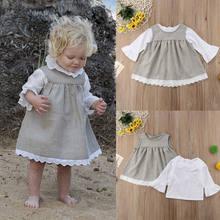 3d84b45ea3146 2 ADET Sonbahar Bebek Kız Elbise Butik Uzun Kollu Pamuk Fırfır Katı Bebek  Elbise Rahat Kız Bebek Giysileri Iki- parça Kıyafet 0-.