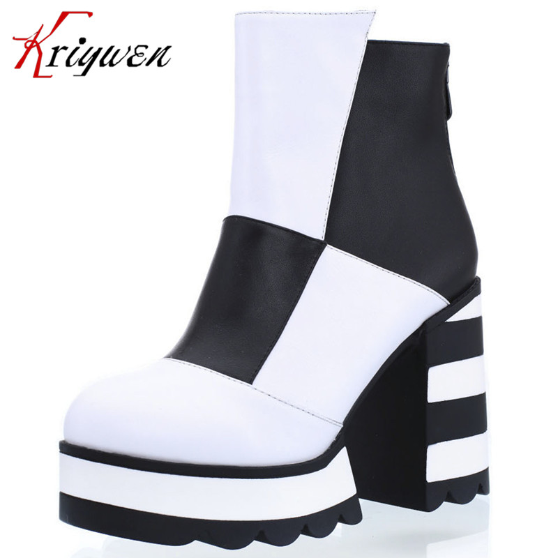 black and white color boots Cowhide genuine Leather Ladies Boots Martin ankle boots chunky high-heeled platform shoes head girl girls and ladies favorite white roller skates with full grain genuine leather dual lane roller skate shoes for adult skating