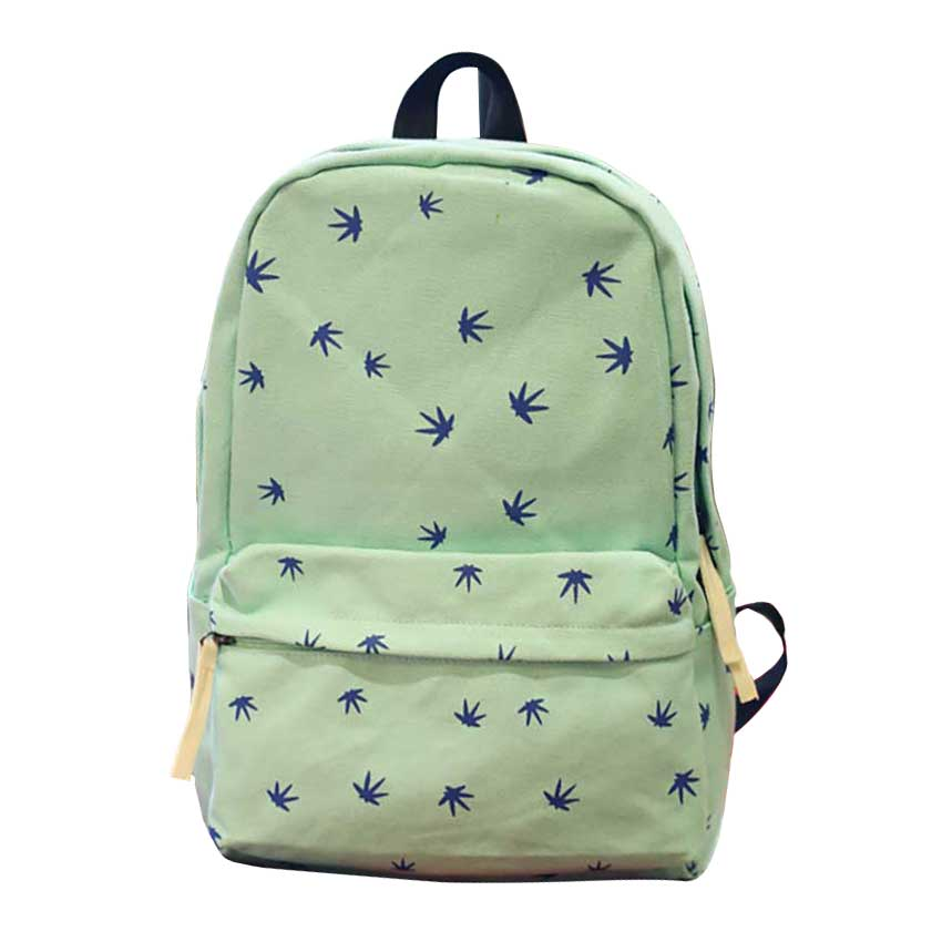 Women Canvas Leaves Printing Travel Casual Backpacks Students Schoolbags College Students Bag For Teenagers Boys Girls