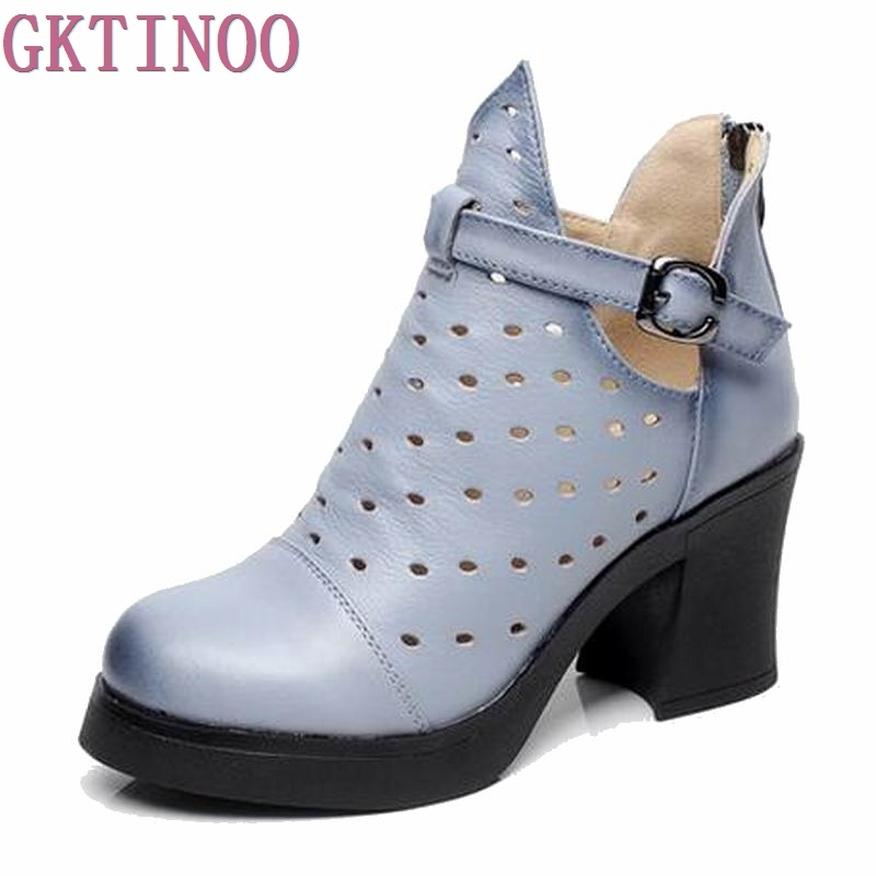 High Quality Genuine Leather Shoes 2018 Spring Summer Fashion Ankle Boots Women Boots Soft Casual high heel Women Shoes Q2668