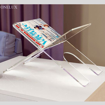 Flat Packed Acrylic Newspaper Tray holder, magazine rack, Desktop Lucite book stand