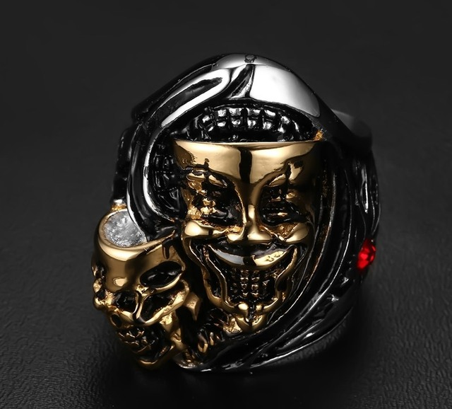 Mens Skull head rings 316L Stainless Steel Harley Biker Jewelry