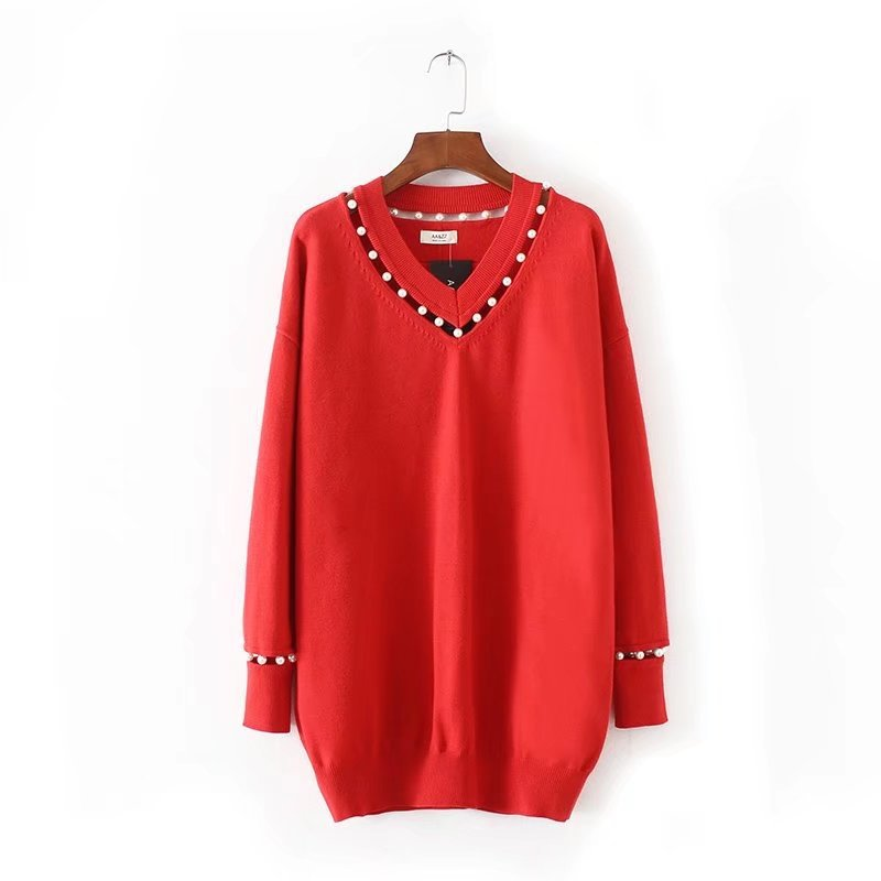Women Pearl decoration Hollow Design Long Sweaters Knitted V Neck Long Sleeve Casual Knitwear Sweater Female Tops Black Red