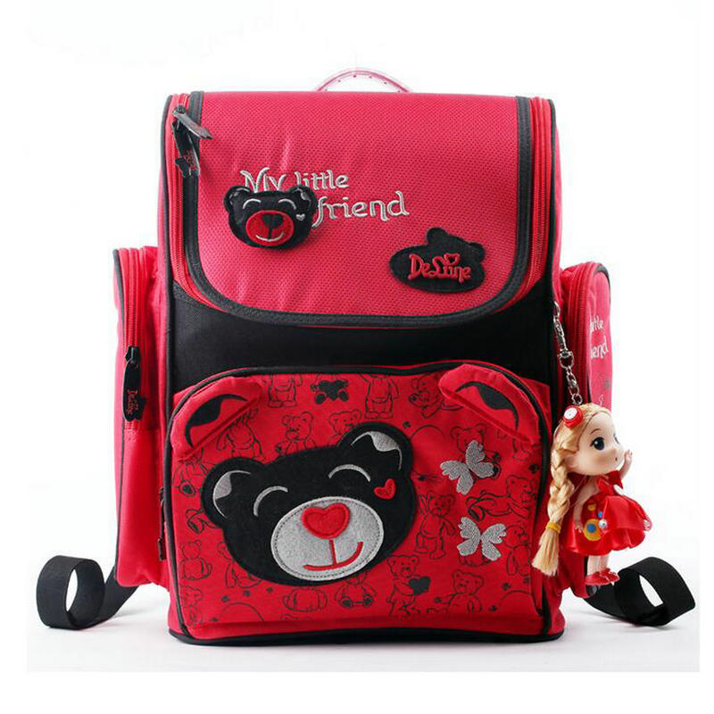 Cartoon Russia Brand Delune Girls School Cute Backpacks Kids Bags Children Orthopedic Bear School Bags Cartoon Girl School Bag