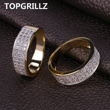 TOPGRILLZ Gold Plated Micro Pave Cubic Zircon แหวนกลม 7 มม. กว้าง Iced Out Bling (China)