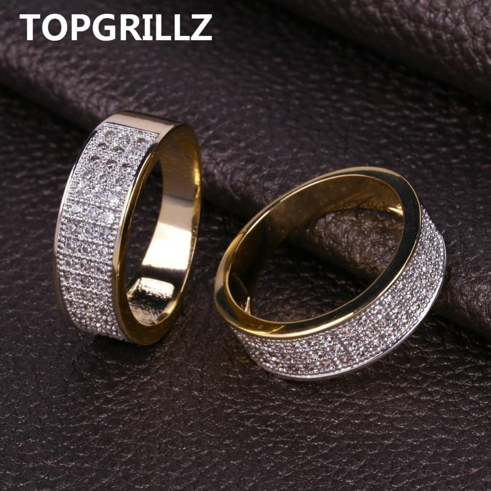d60c8ea5bff9 Comprar TOPGRILLZ chapado en oro de Color Micro Pave Cubic Zircon redondo  anillo 7mm ancho Todo helado Bling joyería de Hip Hop anillos para mujer  Online ...