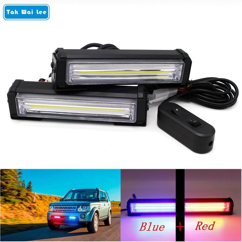 Tak Wai Lee 2X40 W COB LED stroboscope Flash avertissement voiture lumière DC12V 8 Modes changer style pompier Police d'urgence lampe étanche