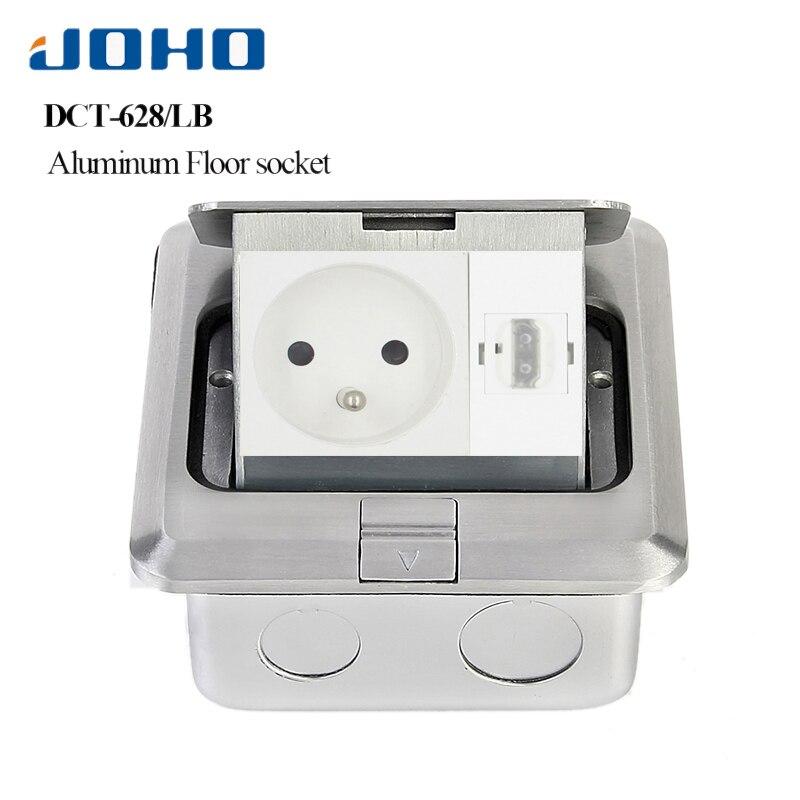JOHO Aluminum Alloy Fast Pop up Floor Socket Outlet 16A 250V French Socket 2 Pole Outlet RJ45 HDMI USB Socket For Living Room