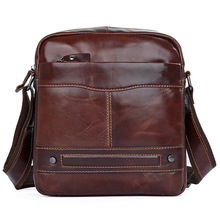 Men's Crossbody Bags Genuine Leather 2019 Man Messenger Shoulder Bag Vintage Fashion Brand Mini Cow Leather  Male Brand  Bags
