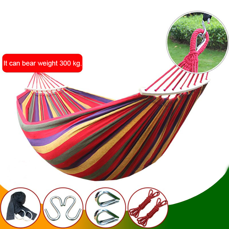 Canvas Fabric Double Spreader Bar Hammock Outdoor Camping Swing Hanging Bed FG 2 people portable parachute hammock outdoor survival camping hammocks garden leisure travel double hanging swing 2 6m 1 4m 3m 2m