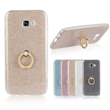 Bling Glitter Ring Holder Stand Soft TPU Phone Coque Cover for Samsung Galaxy A5 2017 Case Cellphone Accessories