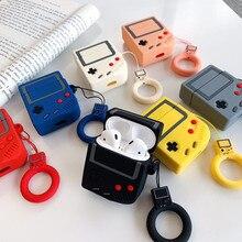 게임 컨트롤러 만화 실리콘 블루투스 이어폰 케이스 애플 airpods에 대 한 귀여운 스트랩 보호 커버 airpods 충전 상자