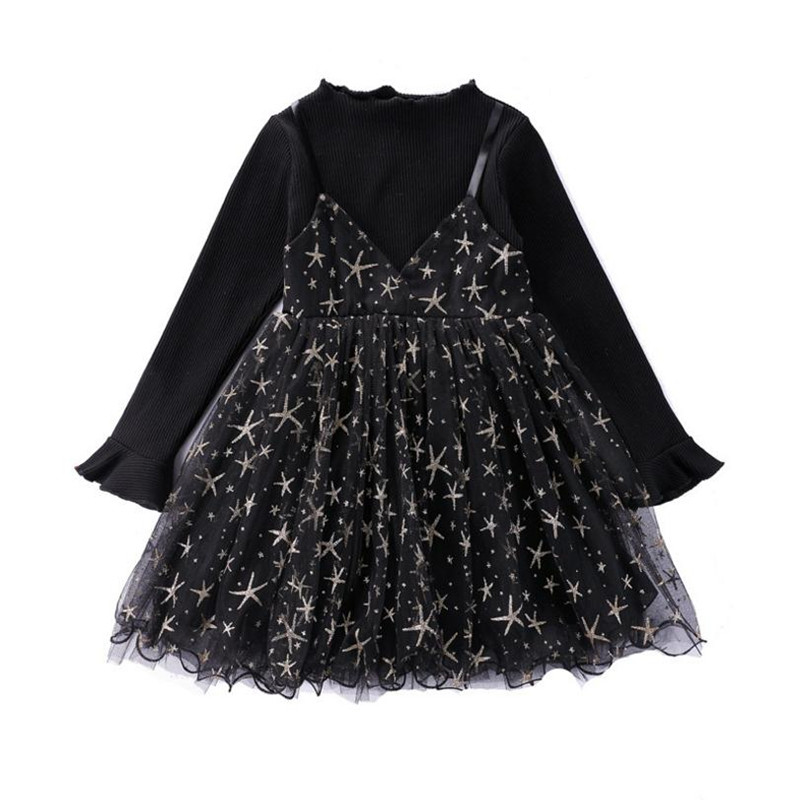DFXD 2018 Autumn Children Outfits England Style Teen Girls Long Petal Sleeve Knitted Lace Bronzing Stars Spliced Princess Dress 1