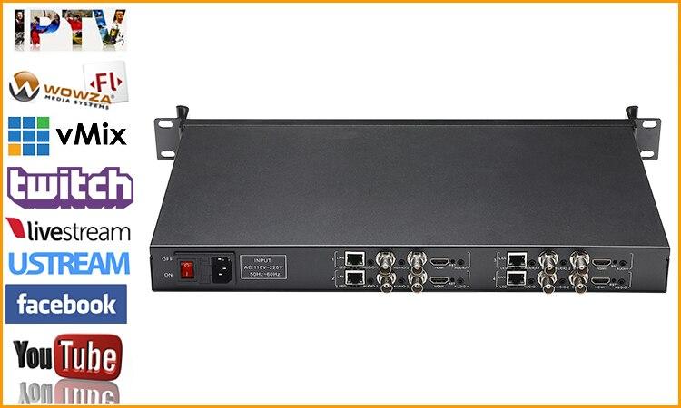 1U Rack 4 en 1 HDMI + CVBS + encodeur Audio stéréo IPTV 4 canaux HD SD encodeur vidéo H.264 encodeur de diffusion en direct