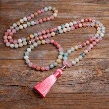 Natural 8mm Rhodochrosite and Amazonite Beads Necklace Peaceful Heart 108 Bead Mala Jewelry, Buddha Prayer Bracelet Women