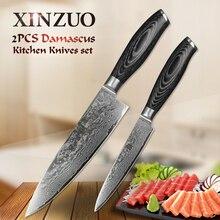 2 stücke küchenmesser set hohe qualität VG10 chef utility messer 73 schichten Japanischen Damaskus küchenmesser holzgriff kostenloser verschiffen