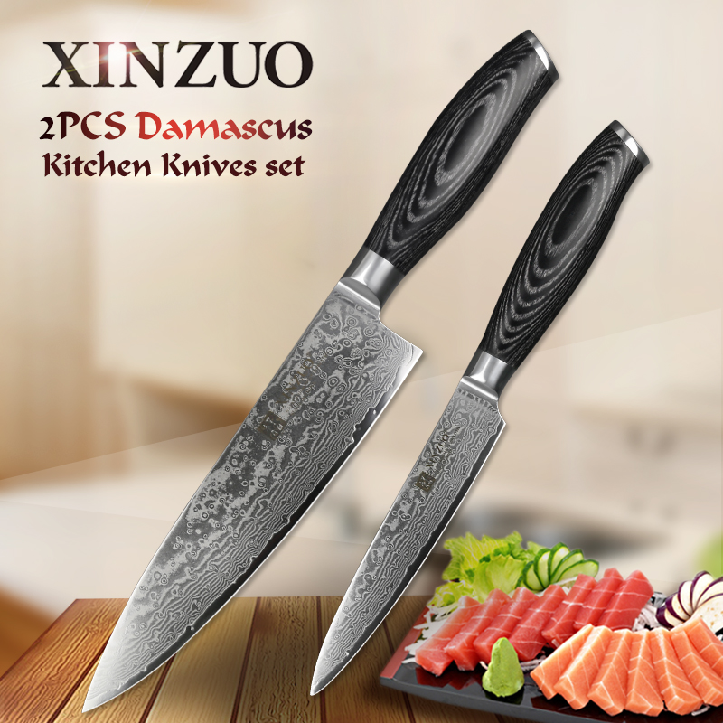 XINZUO 2PCS Kitchen Knives Set 67 Layers Damascus 8 inch Chef and 5'' Utility Knife High Carbon Stainless Steel Pakkawood Handle