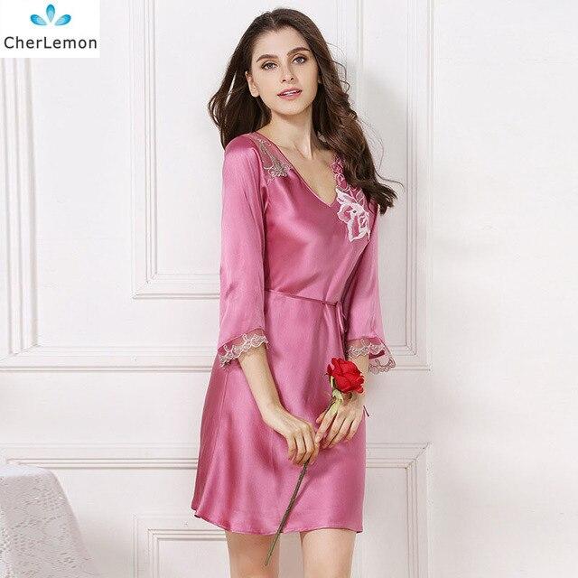 7742546460bb2f CherLemon Frauen 100% Reiner Seide Sommer Nachthemd Luxus Nachtwäsche Damen  Sexy V-ausschnitt Nachthemd
