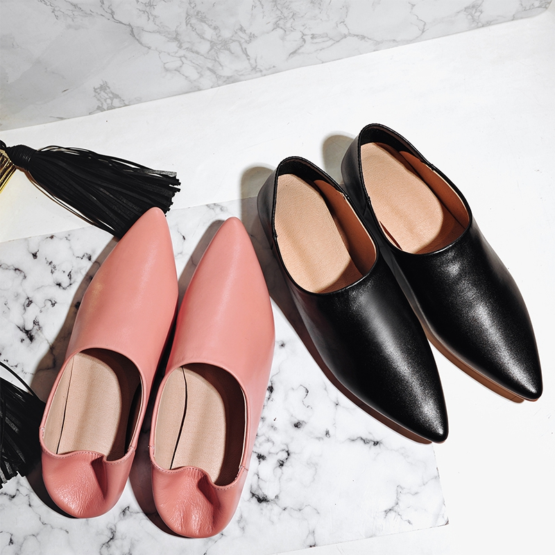 Women shoes flat pointed toe brand genuine leather black 2017 summer ladies wedding shoes office casual solid loafer woman shoes drfargo spring summer ladies shoes ballet flats women flat shoes woman ballerinas pointed toe sapato womens waved edge loafer